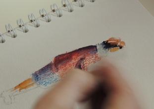 personnage aquarelle et pastel