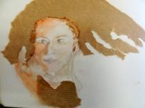 portrait aquarelle et papier craft