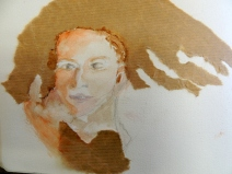 portrait aquarelle et papier craft